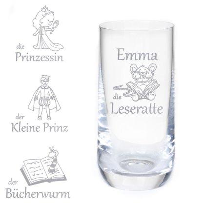 Longdrinkglas Gravur mit Kindermotiv und Wunschname