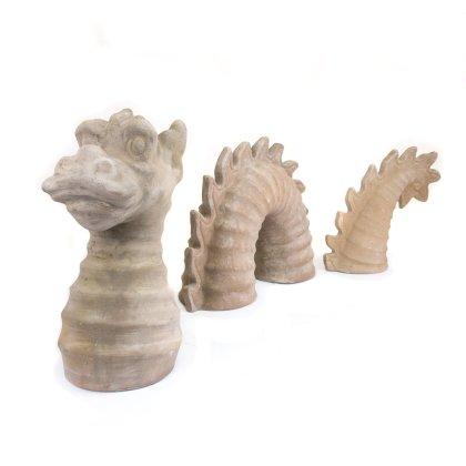 Gartendeko Drache groß 3-teilig Terracotta