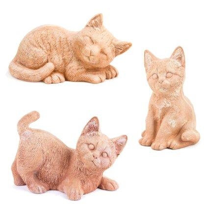 Dekofigur Katze sitzend / liegend - Terracotta in Impruneta-Qualität