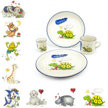 Kindergeschirr-Set 1 mit Wunschname 4-teilig, 9 Motive - Carstens Keramik