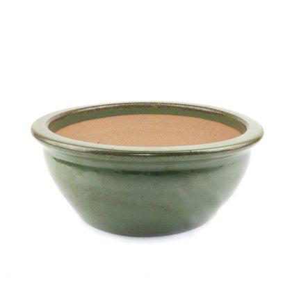Pflanzschale mit Rand Grün D 24cm/ 30cm/ 37cm - Keramik mit frostfester Salzglasur