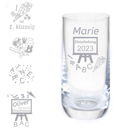 Longdrinkglas zur Einschulung mit Gravur & Wunschnamen - 4 Varianten