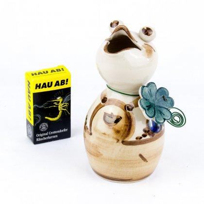 Anti Mücken Räucherfigur Frosch inkl. 20 Räucherkerzen - Heyde Keramik Steinzeug