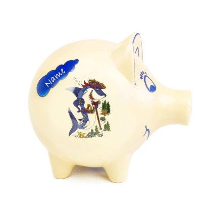 Sparschwein (H 18cm) mit Namen - in 9 Motiven