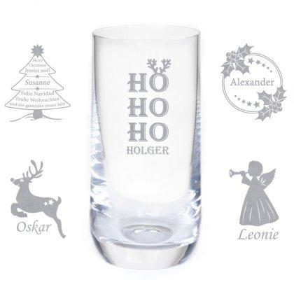 Longdrinkglas mit Gravur und Namen zu Weihnachten