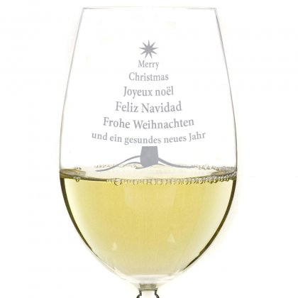 Weißweinglas mit Gravur zu Weihnachten