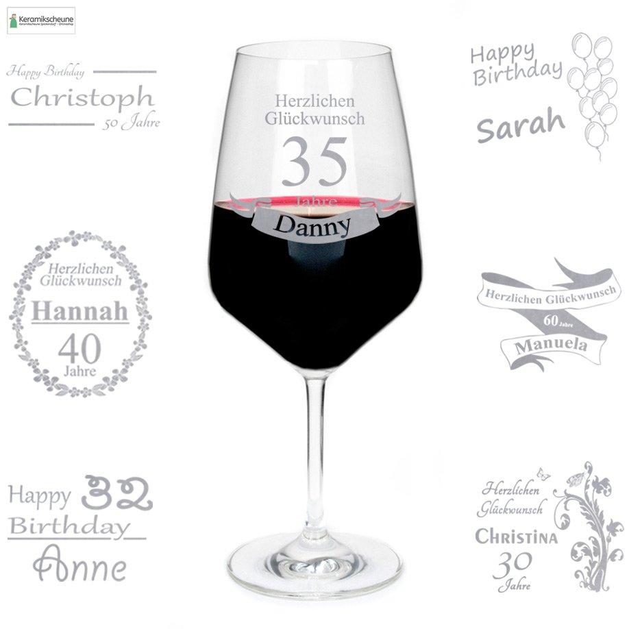 Rotweinglas mit Gravur zum Geburtstag mit Namen - Onlineshop ...