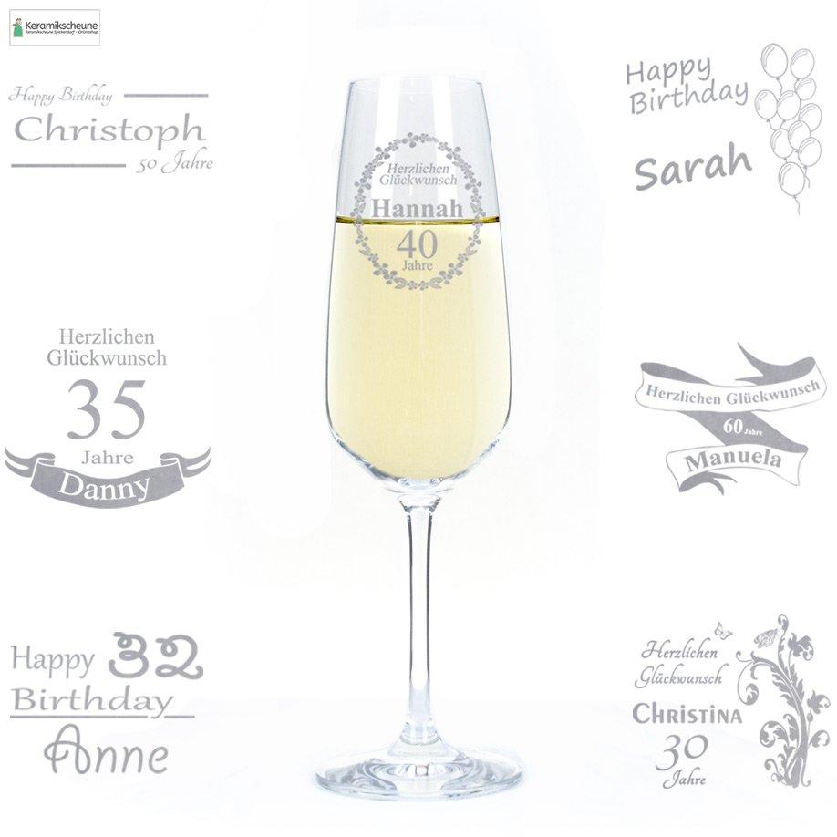 Sektglas mit Gravur zum Geburtstag mit Namen - Onlineshop ...