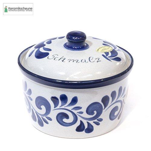schmalztopf grau blau keramik steinzeug kaufen onlineshop keramikscheune spickendorf. Black Bedroom Furniture Sets. Home Design Ideas