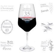 Rotweinglas mit Gravur zum Geburtstag mit Wunschnamen