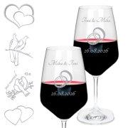 2 x Rotweinglas mit Gravur zur Hochzeit