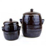Fass/ Fässchen für Zwiebeln, Knoblauch in 2 Größen - Steinzeug