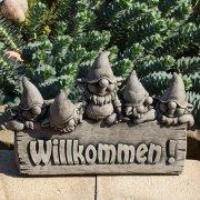 Stein Willkommen mit 5 Zwergen - Kunststein