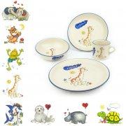 Kindergeschirr-Set 2 mit Wunschname 4-teilig, 9 Motive - Carstens Keramik