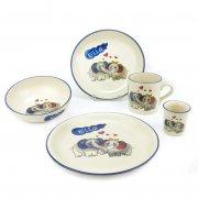 Kindergeschirr-Set 3 mit Wunschname 5-teilig, 9 Motive - Carstens Keramik