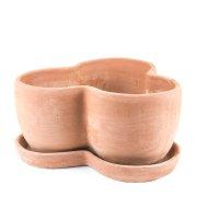 Kräutertopf für 3 Pflanzen inkl. Untersetzer - Terracotta