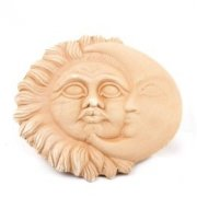 Wandbild Wanddeko Sonne und Mond  D 18cm / 25cm / 35cm - Terracotta in Impruneta-Qualität aus Italien