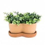 2er Pflanztopf mit Untersetzer 28 cm - Terracotta in Impruneta-Qualität aus Italien
