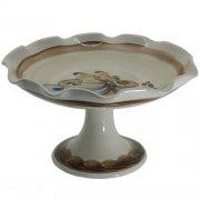 Schale mit Fuß Wellrand - Heyde Keramik Steinzeug
